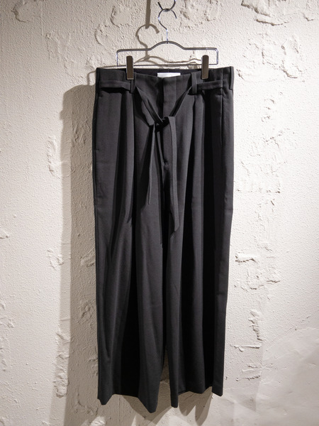 ETHOSENS/18AW/GEORGETTE WIDE SLACKS/3/ダークグレー【中古】