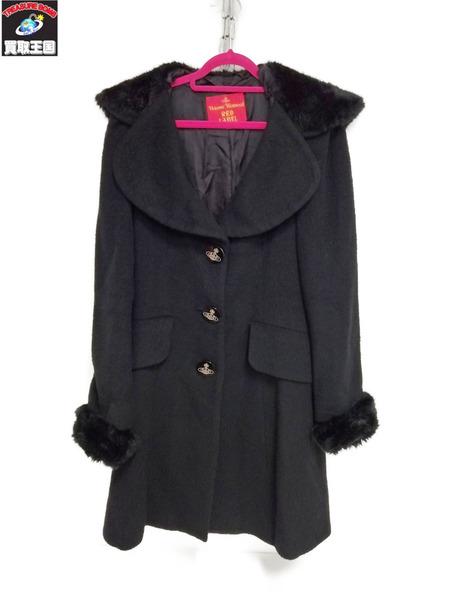 Vivienne Westwood red label/ラブ襟ファーコート/サイズ1/BLK【中古】