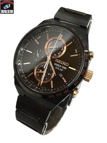SEIKO セレクション ワールドタイム ソーラー ウォッチ V195-0AE0 セイコー 腕時計 【中古】