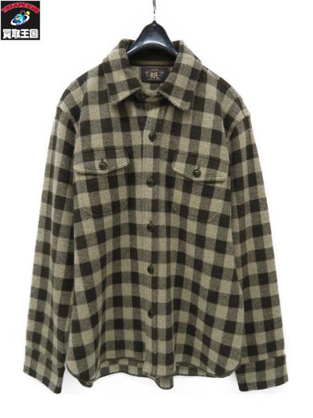RRL RALPH LAUREN カシミヤ混 羊毛 ニットシャツ チェック sizeL【中古】