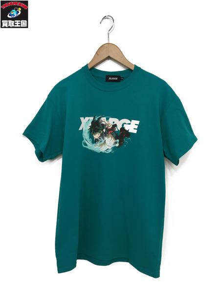 XLARGE×僕のヒーローアカデミア 緑谷 出久 デク 緑 M プリント半袖Tee 【中古】