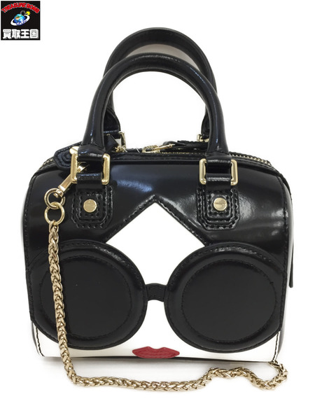 Alice+Olivia アリスアンドオリビア STACEFACE MINI OLIVIA 2Wayミニバッグ 黒【中古】