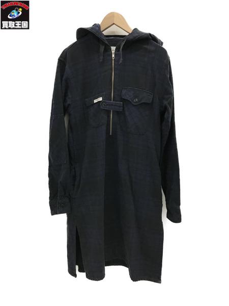Engineered Garments ハーフジップ ロングネル (S) 紺×黒【中古】