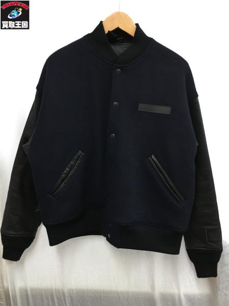 N.HOOLYWOOD エヌハリウッド 18AW Leather Stadium Jacket 36 紺【中古】