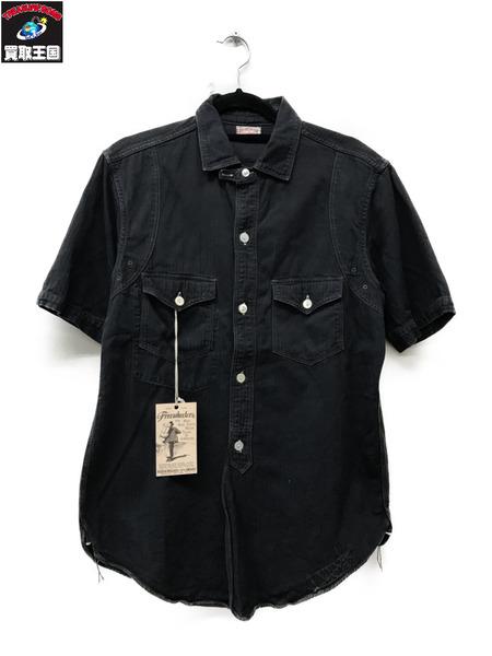 FREEWHEELERS フリーホイーラーズ ssトラッカーワークシャツ(15)黒【中古】