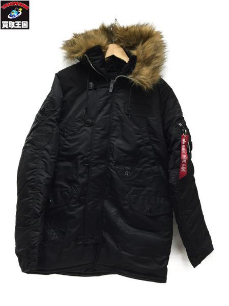 ALPHA Nー3B ユニカラーパッチ フライトジャケット BLACK L TA0310ー001【中古】