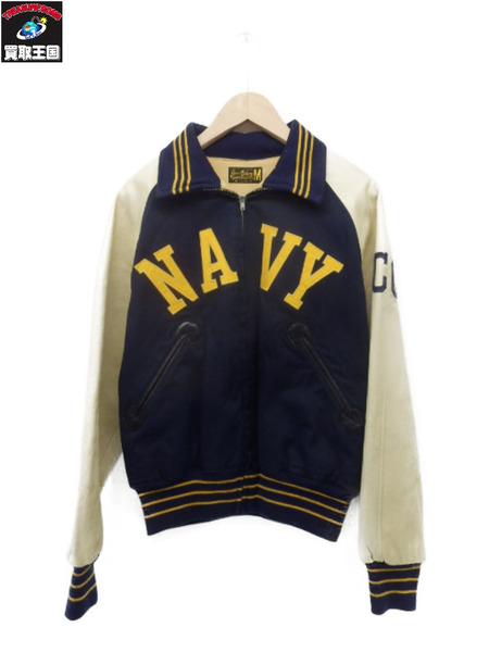Buzz Rickson's Sportswear NAVY スリーブホースハイド切替 スタジャン (M)【中古】