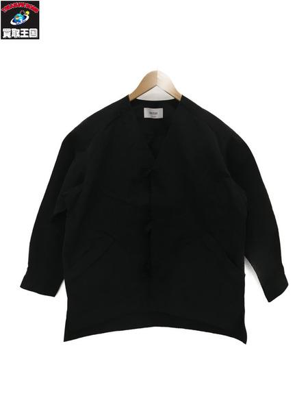UNITUS 60/40クロス/ノーカラージャケット/黒【中古】