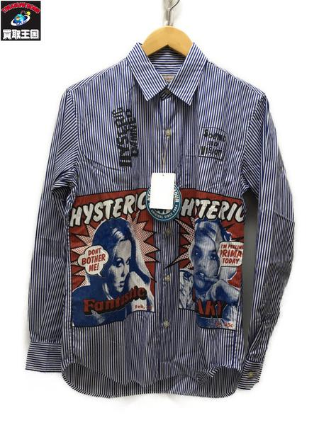 HYSTERIC GLAMOUR FANTASTIC レギュラーシャツ ストライプ S 【中古】