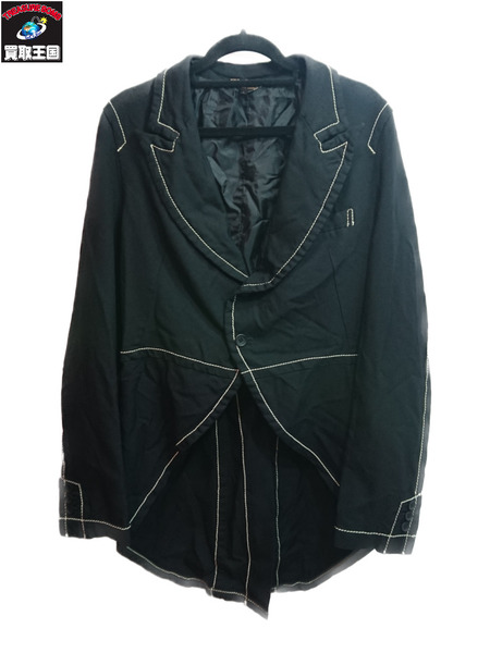 BLACK COMME des GARCONS ポリ縮絨 燕尾ジャケット サイズL AD2014【中古】