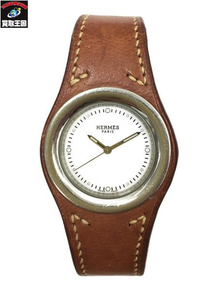 HERMES アーネ K刻印 クォーツ 腕時計 HA1.410 純正レザーベルト 【中古】[▼]