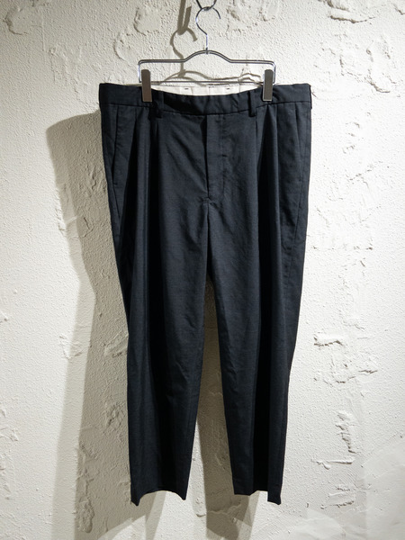 URU/19SS/WOOL 2TUCK EASY PANTS/2/ブラック【中古】[▼]