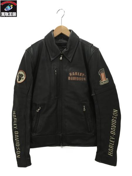 Harley-Davidson ライナー/ワッペン付 シングルレザーライダース (S) ブラック【中古】