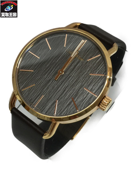 Calvin Klein イーヴン レザー×GP クオーツウォッチ K7B 216 カルバン クライン 腕時計【中古】