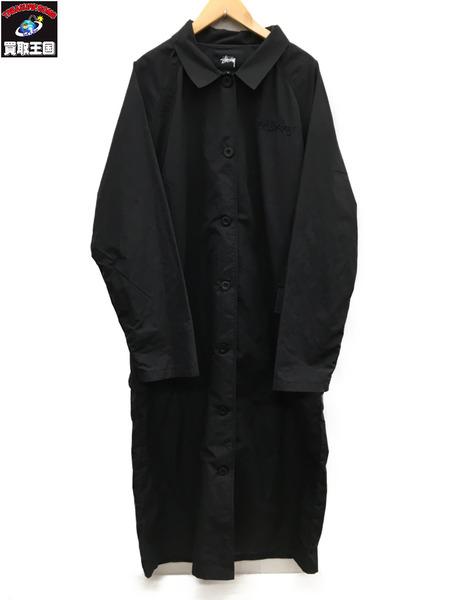STUSSY 18年製Logo-embroidered shell coat ステンカラーコート 黒 M【中古】