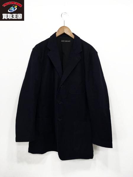 ISSEY MIYAKE イッセイ ミヤケ ヘビーコットン3Bテーラードジャケット(4)ネイビー【中古】