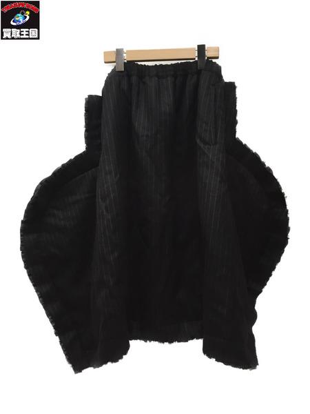 COMME des GARCONS AD2017 フリルレイヤード 変形ワイドスカート SizeS BLK【中古】[▼]