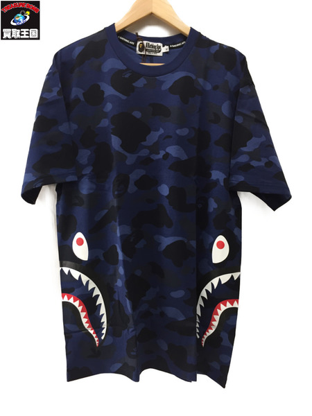 A BATHING APE COLOR CAMO SIDE SHARK TEE SizeXL ネイビー【中古】