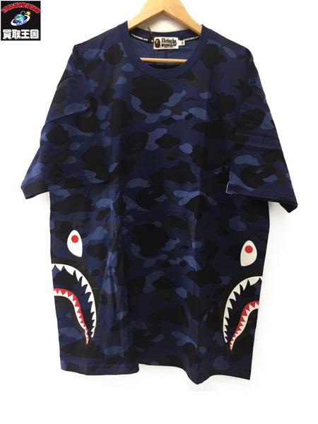 A BATHING APE COLOR CAMO SIDE SHARK TEE SizeXXL ネイビー【中古】