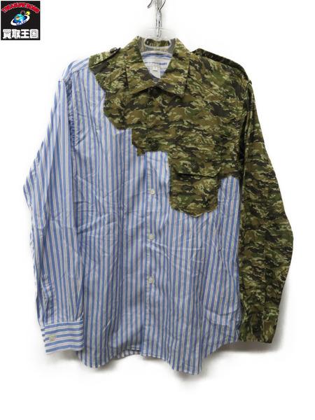 COMME des GARCONS SHIRT 迷彩切替ストライプシャツ【中古】