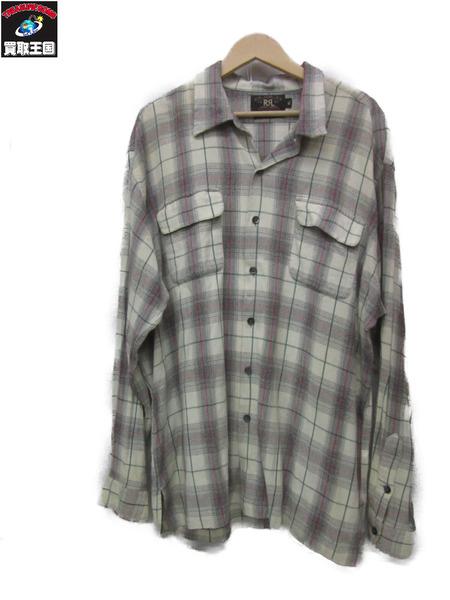 RRL L/Sオンブレチェックオープンカラーシャツ (XL) コットン×レーヨン ホワイト【中古】
