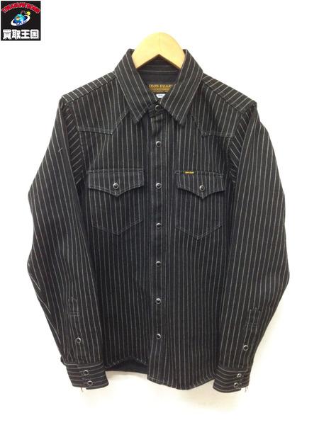 IRON HEART ウォバッシュブラックデニムシャツ (S) 黒【中古】