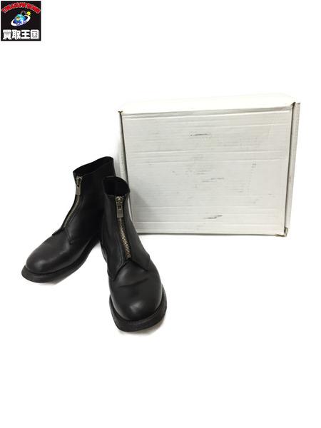 GUIDI グイディ ベイビーカーフレザー オーソピーディック フロントジップ ブーツ BLACK 40 革靴【中古】