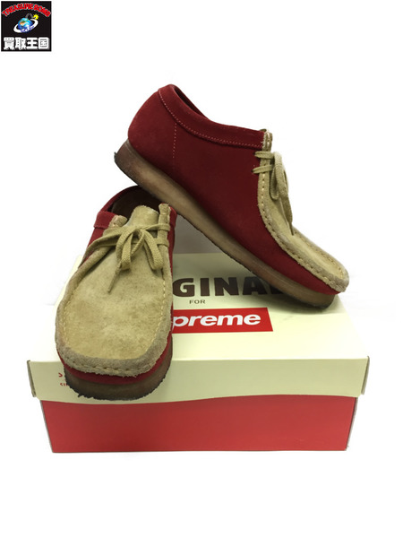 Supreme×Clarks 15SS Wallabee Low ベージュ×レッド size9【中古】