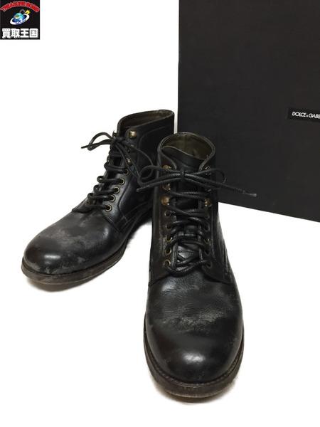 DOLCE&GABBANA レースアップ レザー ブーツ CA6796 (6 1/2)【中古】