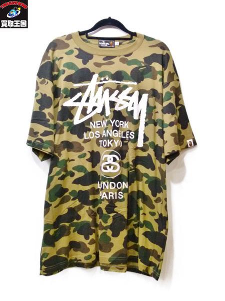 A BATHING APE×STUSSY Tシャツ XL カモ柄【中古】[値下]
