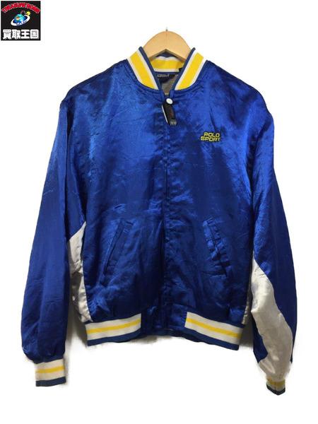 90s POLO SPORT ブルゾン (L) BLU サテンジャケット【中古】
