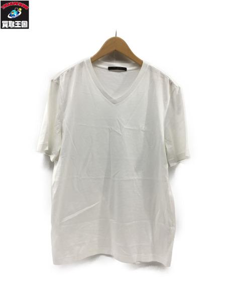 LV/ロゴ刺繍/Vネック半袖Tシャツ/白/XL/VCCM09【中古】