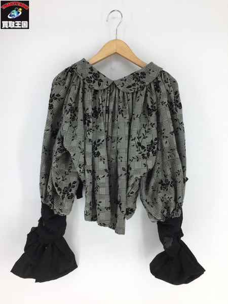 tricot COMME des GARCONS グレンチェック/フロッキープリントブラウス(S)【中古】