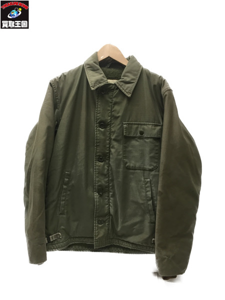 U.S.NAVY A-2 デッキジャケット 80's SizeM カーキ【中古】