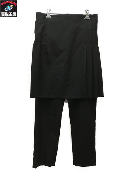 BLACK COMME des GARCONS サイドプリーツスカートドッキングパンツ/黒/XS【中古】[▼]
