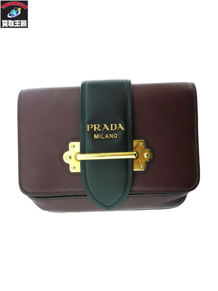 PRADA/ベルトバッグ/1BL004/CITY CALF/GARANATO+NERO【中古】[▼]