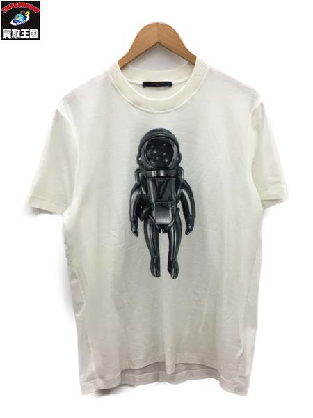 LOUIS VUITTON 19SS ジャカードベロアスペースマンTシャツ (L) 白【中古】