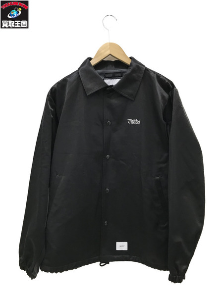 (W)TAPS/ダブルタップス/GREASERS/JACKET.RACO.SATIN/刺繍サテンコーチジャケット/2/黒【中古】