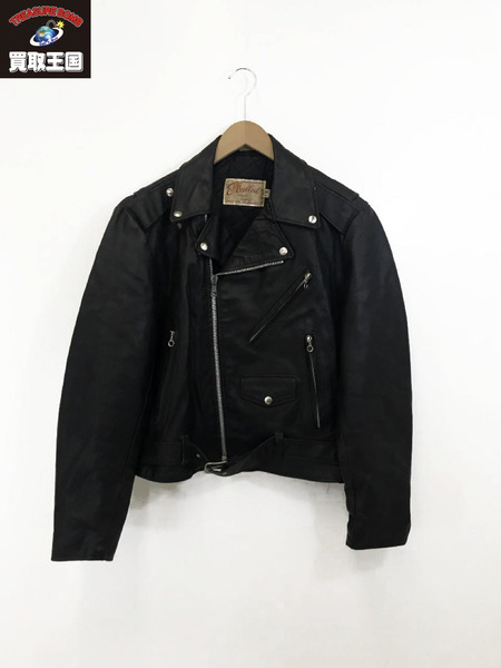 Excelled 80sUSA製レザーWライダース(40)黒【中古】