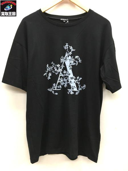 18SS/ANN DEMEULEMEESTER/アンドゥムルメステール/オーバーサイズフラワープリントTシャツ/ブラック/花柄/XS【中古】