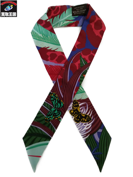 HERMES スカーフ ツイリー LA MAISON DES CARRES メゾンデカレ グリーン 【中古】