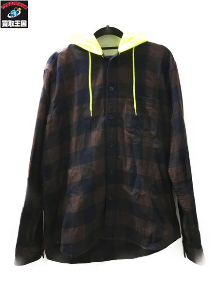SOPHNET. ソフネット 18年 INDIGO FLANNEL CHECK HOODED SHIRT チェックシャツ soph-189089 蛍光色 M【中古】