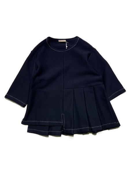 MARNI/19AW/Asymetric Pleats Sweatshirt/40/NVY【中古】