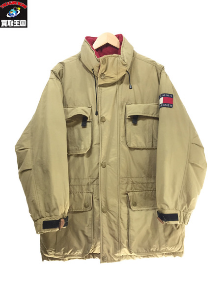 90's TOMMY HILFIGER セーリングギアダウジャケット SIZE L ベージュ トミーヒルフィガー【中古】