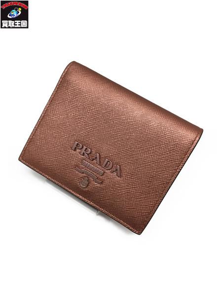PRADA サフィアーノ モノクローム スクエアウォレット PNK プラダ コンパクトウォレット 財布 二つ折り財布 【中古】