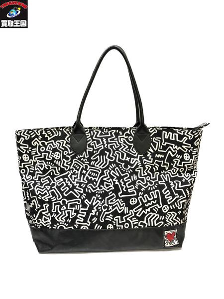 Keith Haring×XCIAOPANIC 手持ちレザーコーデュラトート キース・ヘリング チャオパニック【中古】