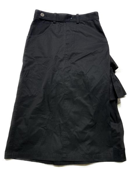 Yohji Yamamoto/フリルデザインスカート/1/ブラック【中古】