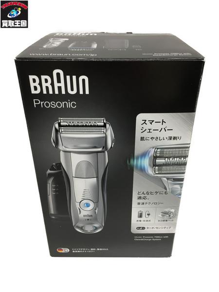 BRAUN 商舗 ブラウン 付与 シリーズ7 電気シェーバー Prosonic 洗浄機付き アルコール洗浄液 7090CC 中古