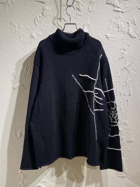 BLACK scandal Yohji Yamamoto NEW ブラック 3 蜘蛛の巣ジャガードニット NEW売り切れる前に☆ 中古