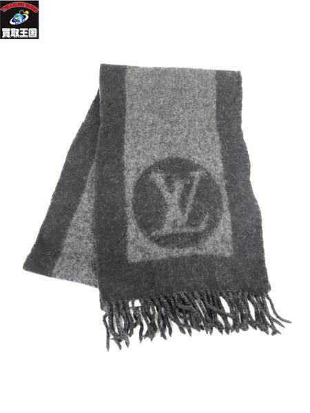 LV M70482 男女兼用 エシャルプ カーディフ 黒 Vuitton 中古 ルイヴィトン Louis 在庫一掃売り切りセール